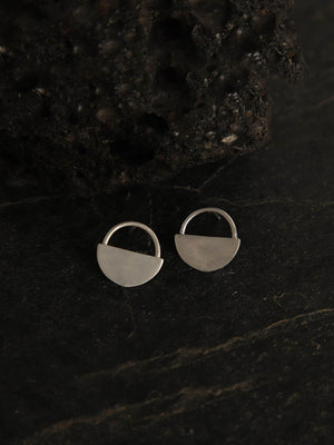 Silver Plated Half Moon Studs