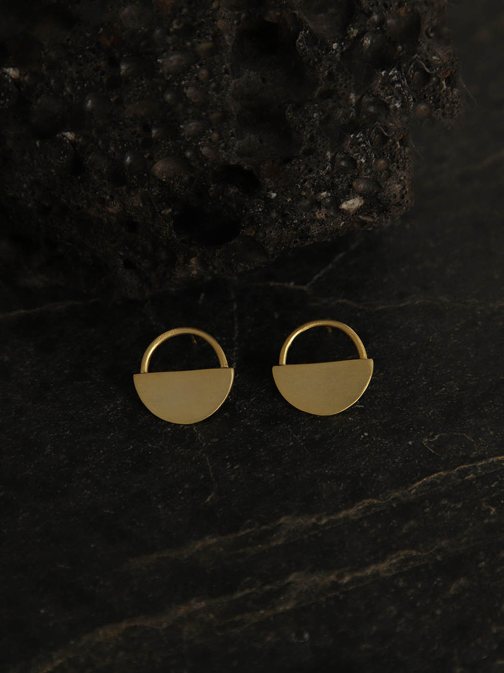 Gold Plated Half Moon Studs