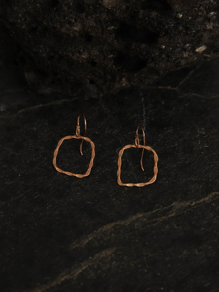 Rose Gold Plated Minimal Square Loops