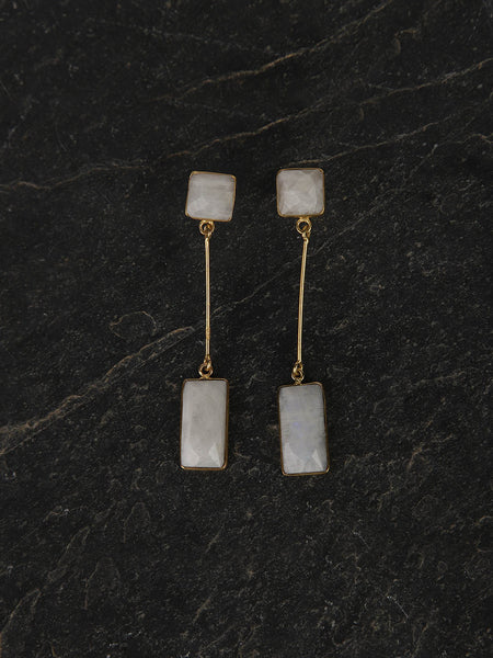 Gold Plated Moonstone Drop Danglers