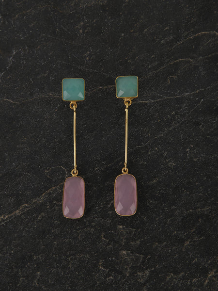 Gold Plated Multistone Drop Danglers - Aqua, Rose Quartz