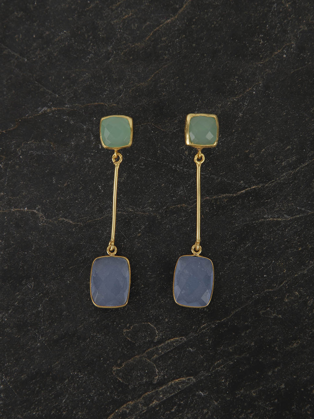 Gold Plated Multistone Drop Danglers - Lime, Blue Chalcedony