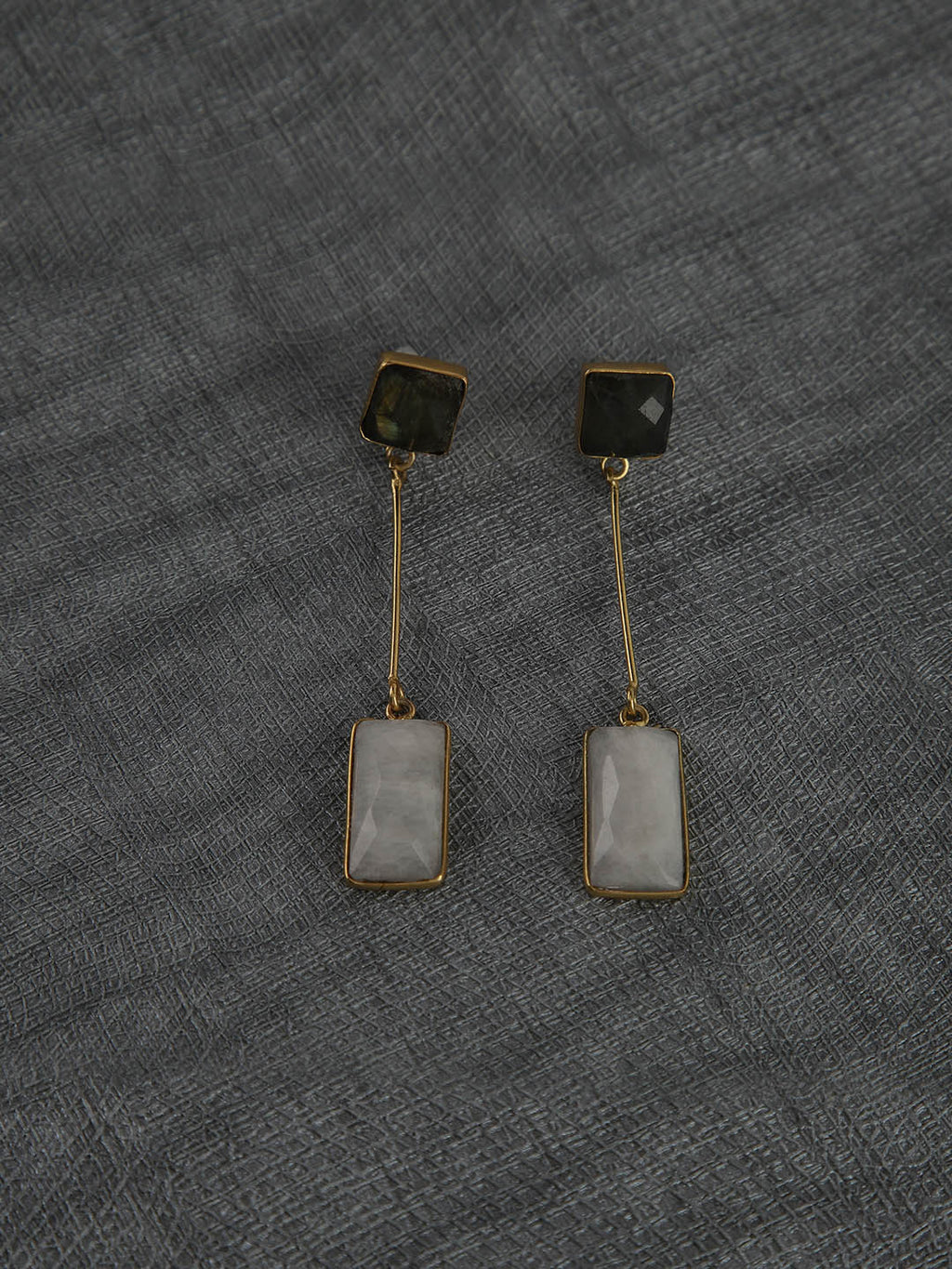 Gold Plated Multistone Drop Danglers - Labrodorite, Moonstone