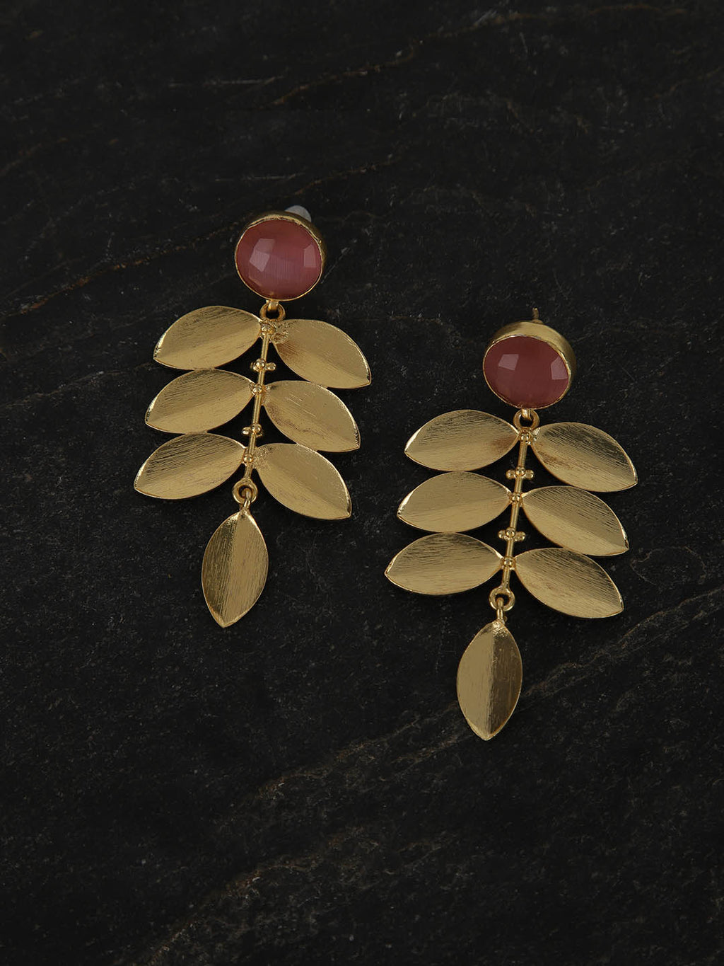 Gold Plated Dark Pink Drop Danglers