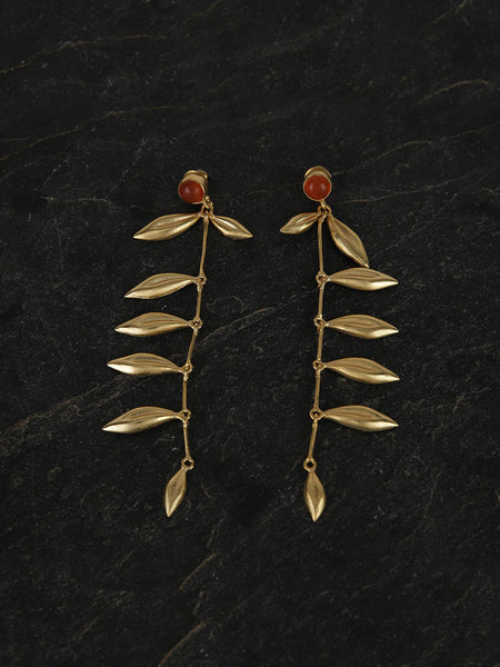 Gold Plated Carnelian Leaf Danglers