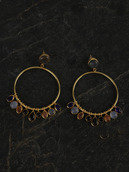 Gold Plated Multistone Hoops