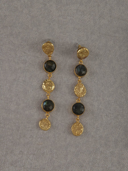 Gold Plated Labrodorite Disc Drop Danglers
