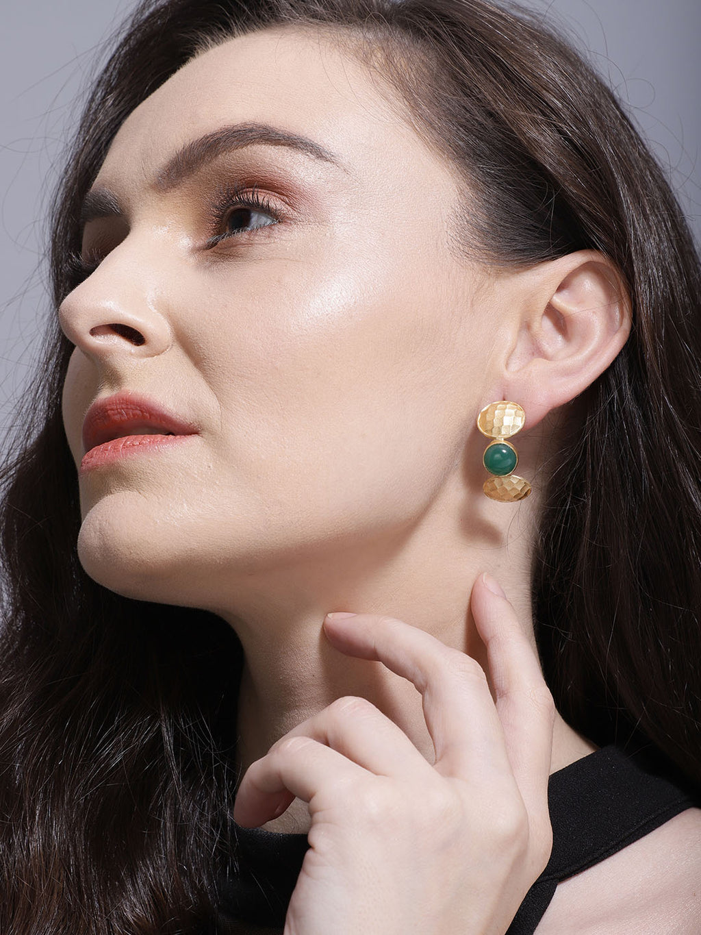 Gold Plated Jade Half Hoops