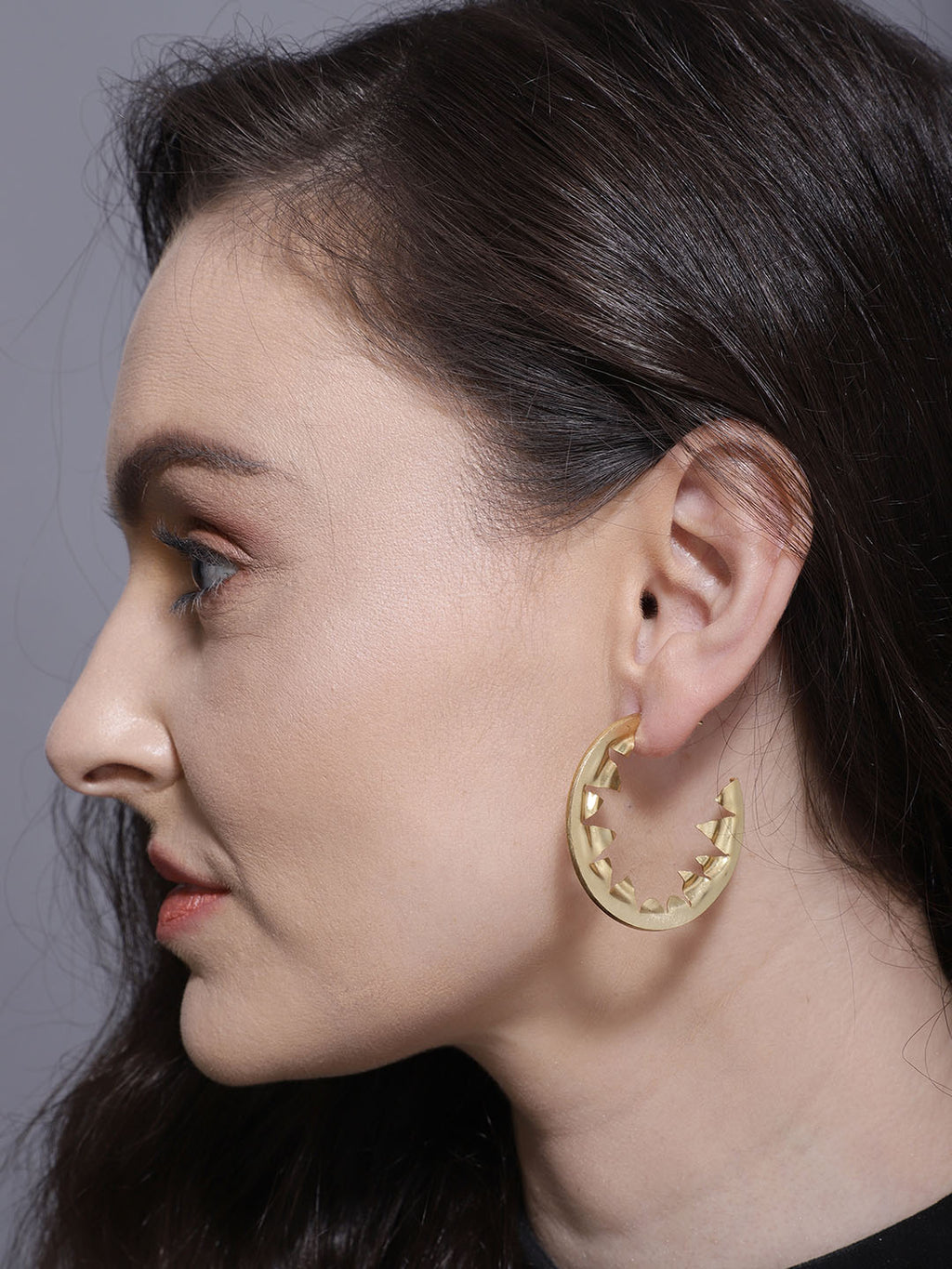 Gold Plated Triangle Cut Out Hoops
