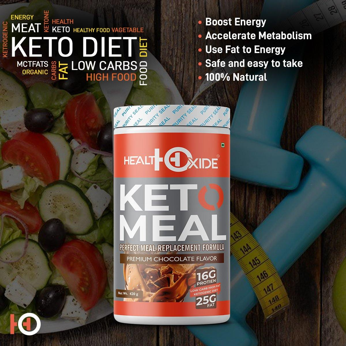 Ketogenic Diet - Meal Replacement Shakes – 420 g (Chocolate) - HealthOxide
