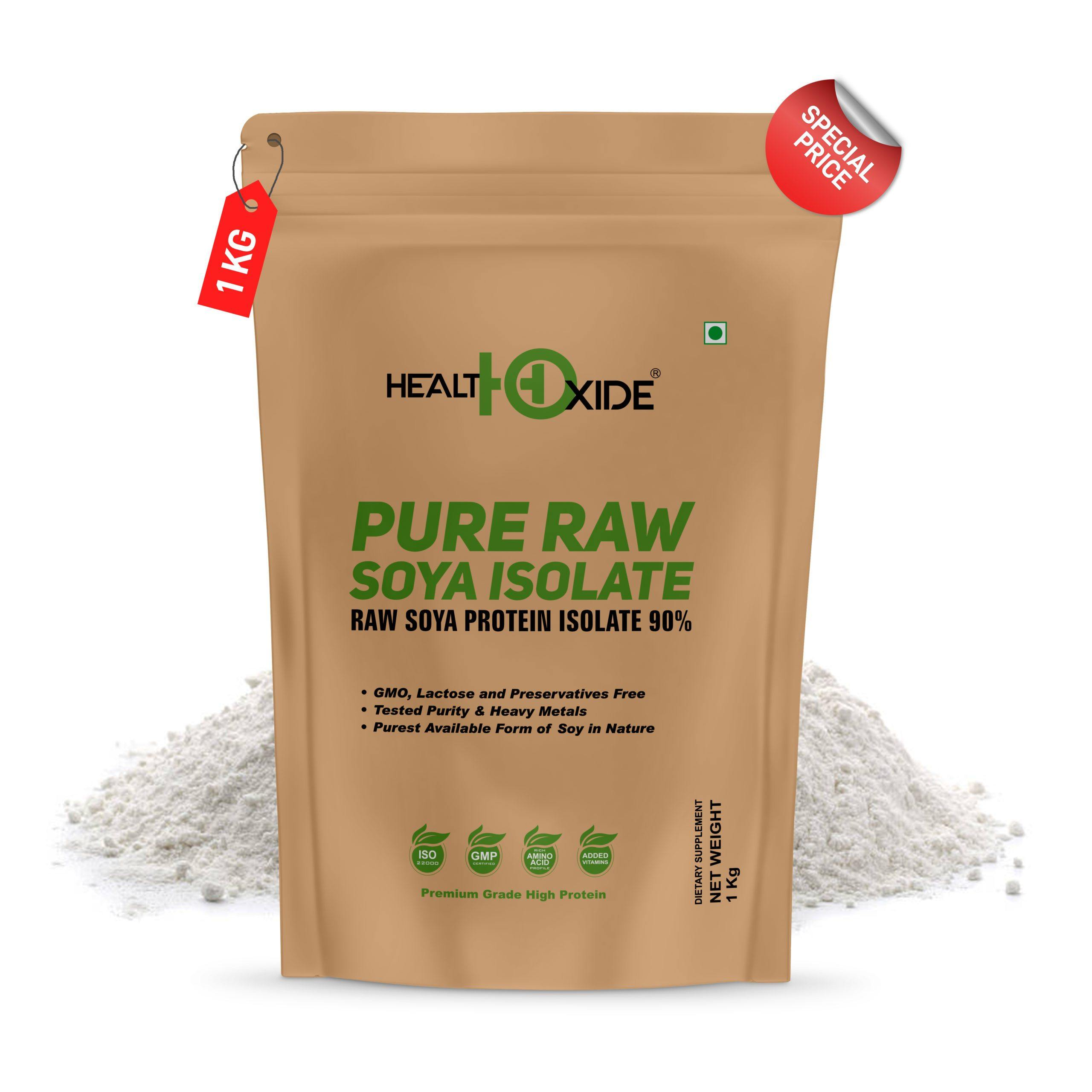 Pure Raw Soya Isolate 90% Protein Powder (Raw & Unflavored), 1 kg - HealthOxide