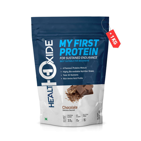 My First Protein with whey, casein & pea, Chocolate – 1 kg - HealthOxide