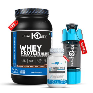 Muscle Builder Combo-Whey Protein+Multivitamin men+Shaker - HealthOxide