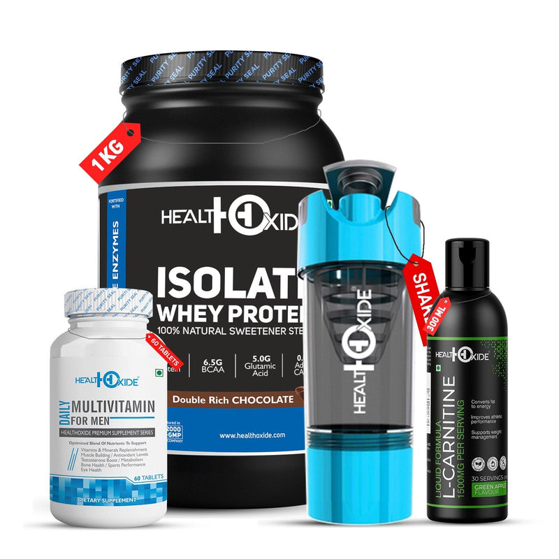 Lean Muscle Combo-Whey Protein Isolate + Multivitamin men+ L-Carnitine+ Shaker - HealthOxide