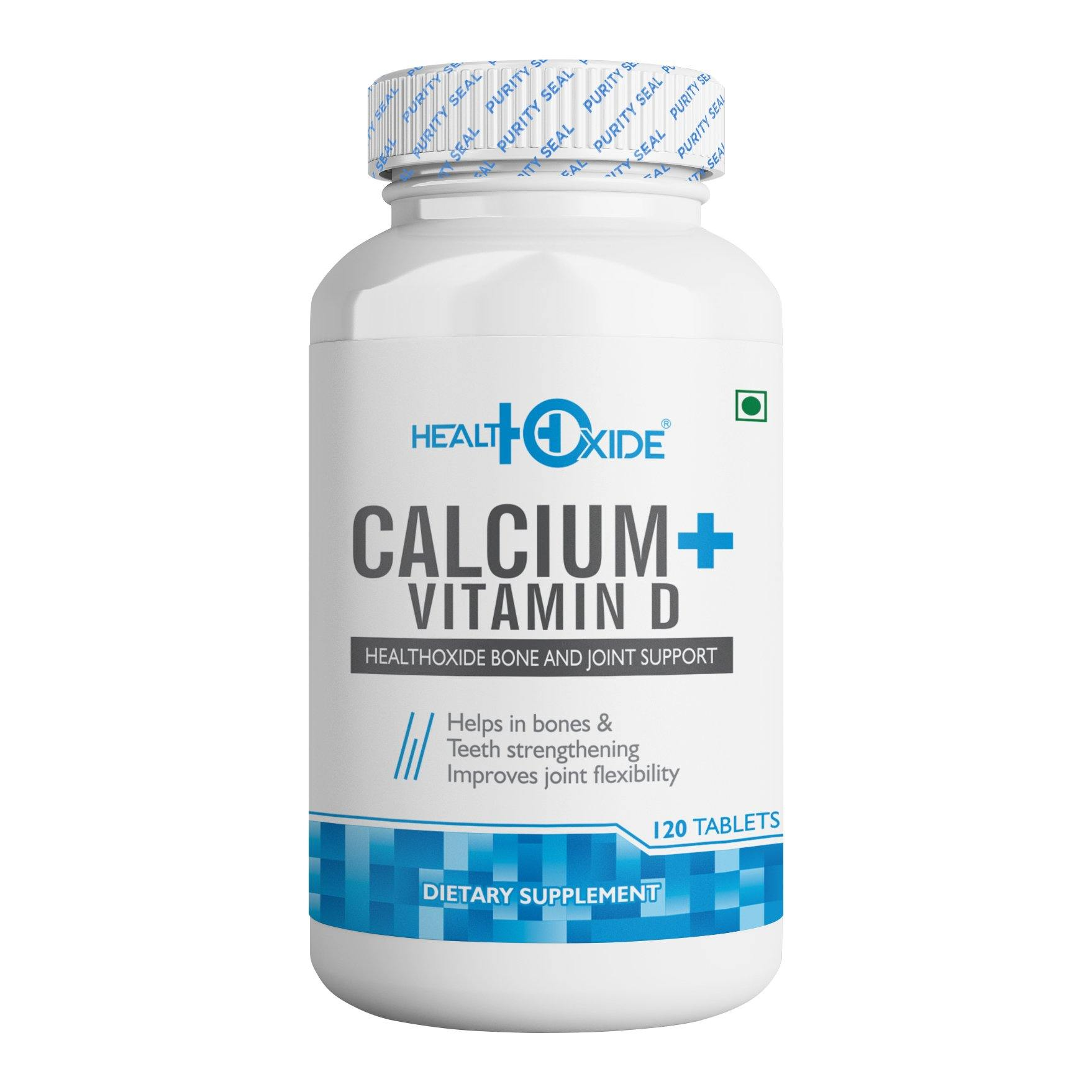 HealthOxide Calcium 625 mg + Vitamin D 400 IU– 120 Tablets - HealthOxide