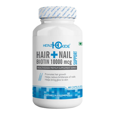 Biotin 10000 mcg Supports Healthy Hair Skin and Nail – 60 Veg Capsules - HealthOxide