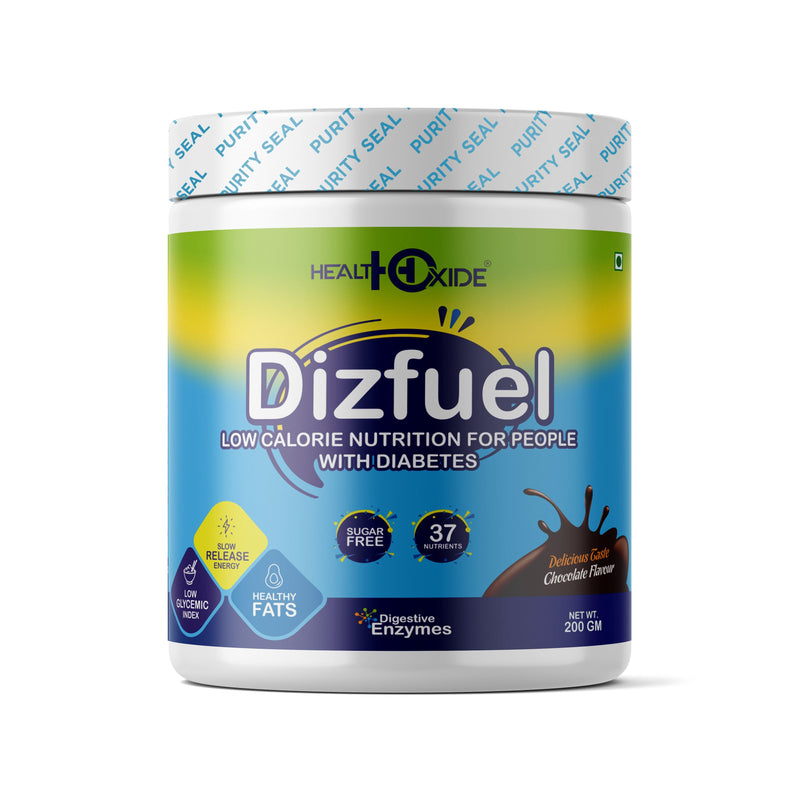 Dizfuel – High Protein Nutrition Drink Mix Powder for Diabetic – (200g, Chocolate Flavor) - HealthOxide