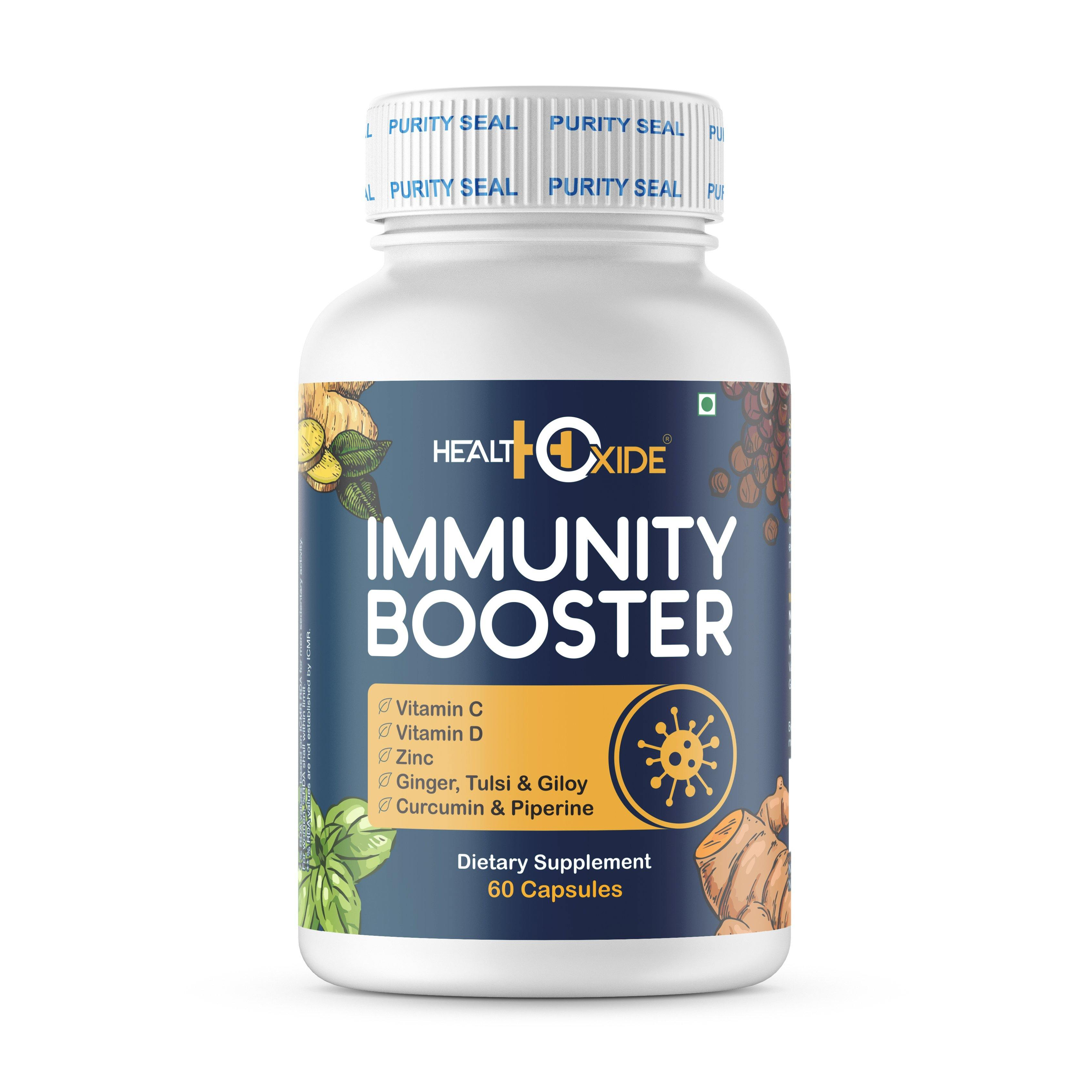 HealthOxide Immunity Booster with Vitamin C, D, B Complex, Zinc, Amla, Giloy, Tulsi, Ginger, Turmeric (60 Veg. Capsules) - HealthOxide