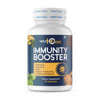 HealthOxide Immunity Booster with Vitamin C, D, B Complex, Zinc, Amla, Giloy, Tulsi, Ginger, Turmeric (60 Veg. Capsules)