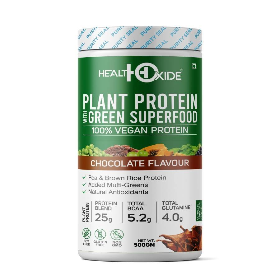 Vegan Plant Protein, Herbs, Antioxidants, Digestive Enzymes (Natural Chocolate flavor) - HealthOxide