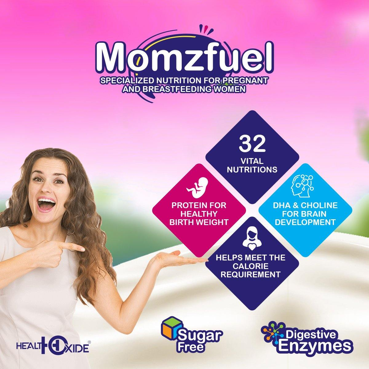 Momzfuel - High Protein for pregnant and breastfeeding and active women (200g, Chocolate Flavor) - HealthOxide