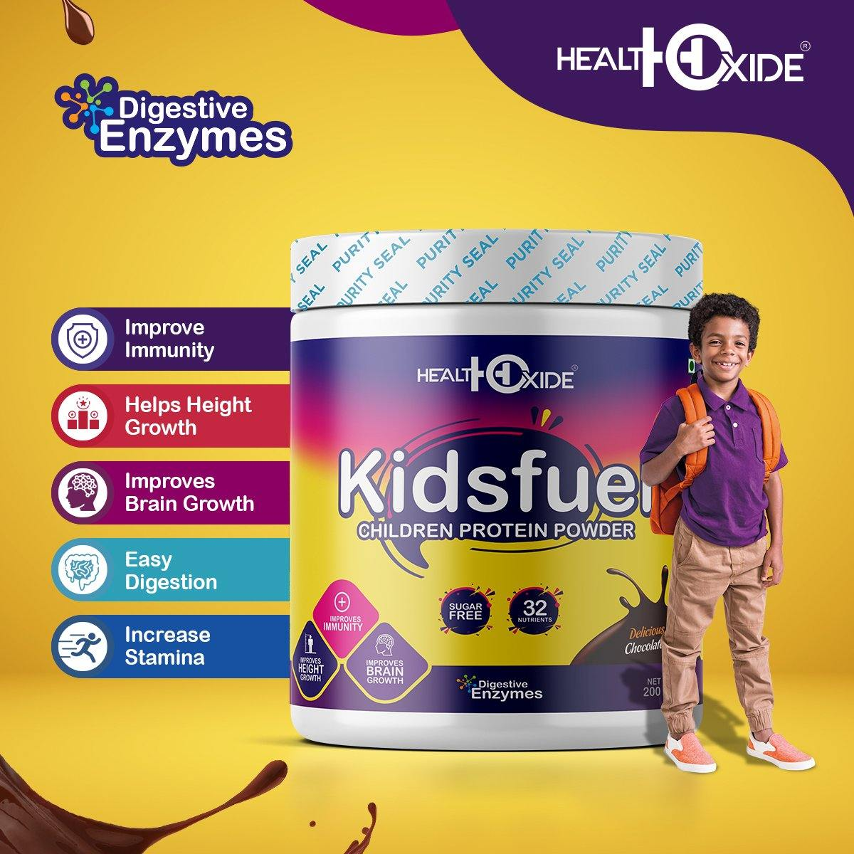 KIDSFUEL - High Protein Nutrition Drink Mix Powder for Child Growth – (200g, Chocolate Flavor) - HealthOxide
