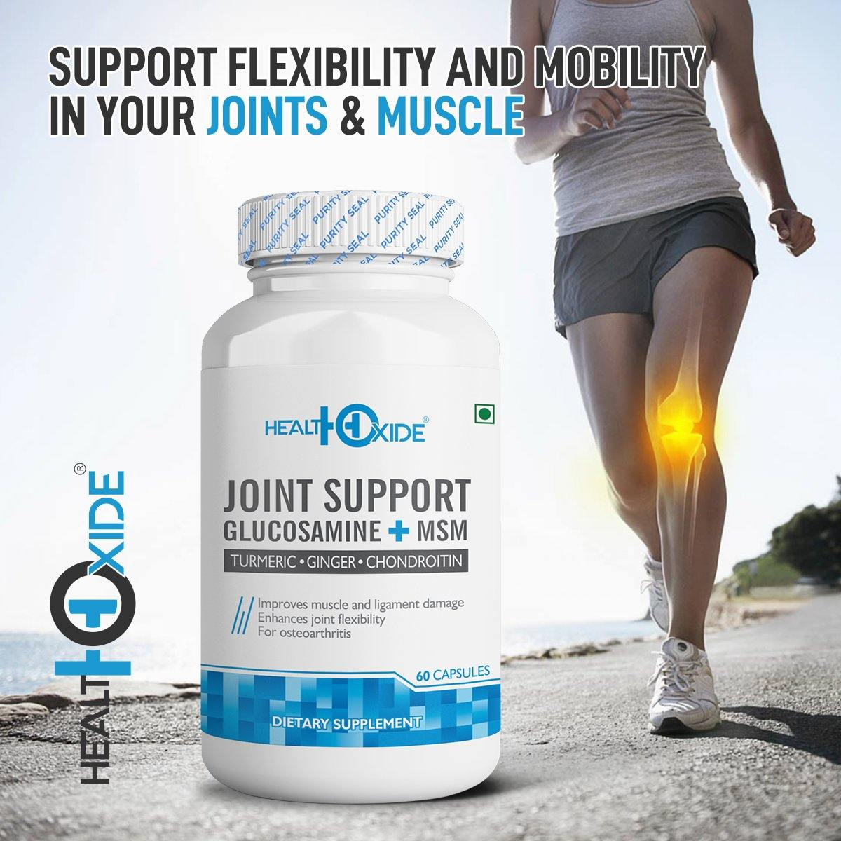 Joint Support – Support Joint Pain Relief, Strength & Flexibility for Men & Women – 60 Veg Capsules - HealthOxide