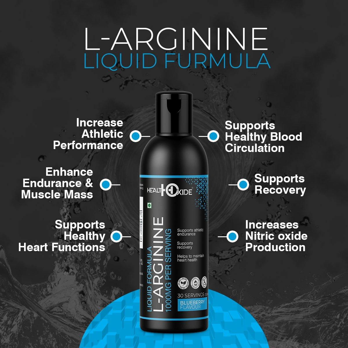 L-Arginine Liquid 1000mg per serving,  (300ml, Blueberry Flavor)