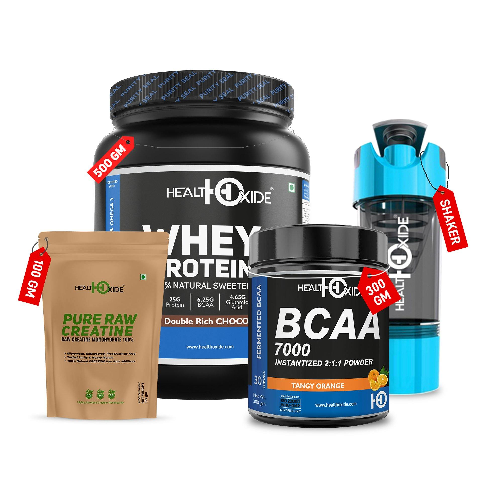 Bodybuilding Combo -Whey Protein + Creatine Unflavored+ BCAA+ Gym Shaker - HealthOxide