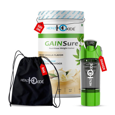 Weight Gainer Combo-GainSure + GYM Shaker + Trandy bag - HealthOxide