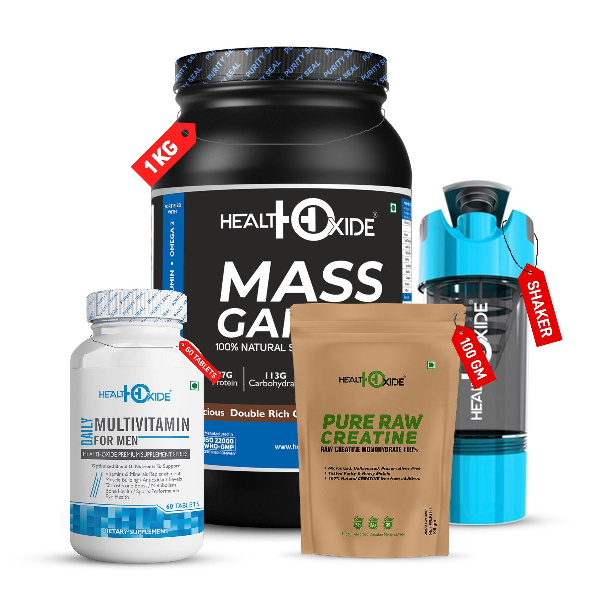 Mass Gainer Value Combo-Mass Gainer+ Multivitamin For Men + Pure Raw Creatine+ Shaker - HealthOxide