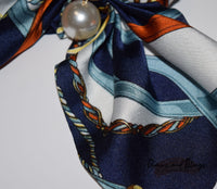 Nautical Blue Silk Satin With Hanging Pearl Scrunchie