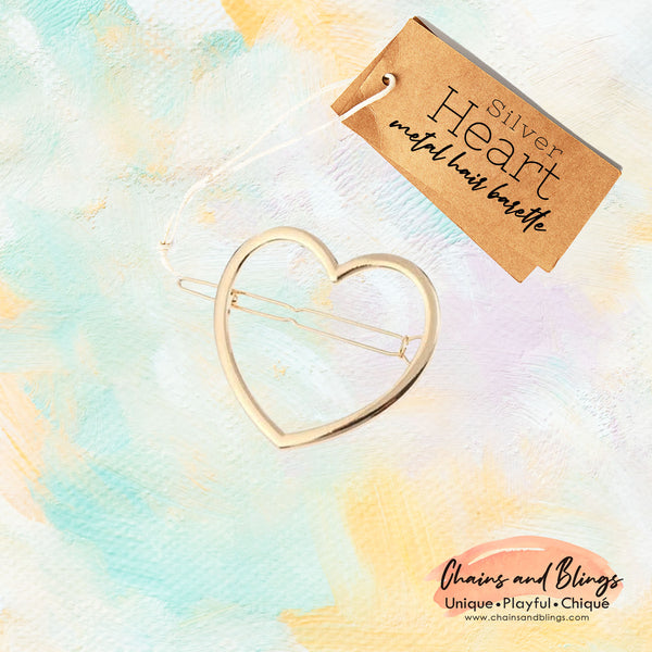 Heart Gold Metal Barette
