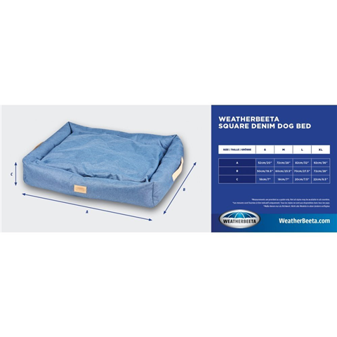 WB Square Denim Dog Bed Large