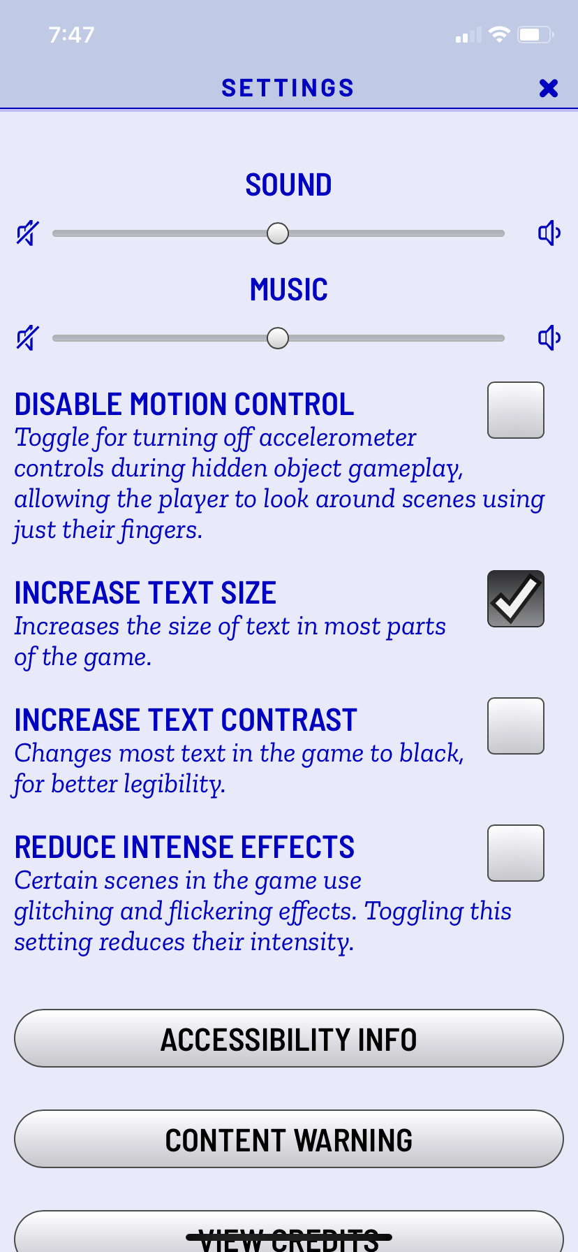 A visual representation of the in-game settings, and the impact of turning on enlarged font. The font size has doubled.