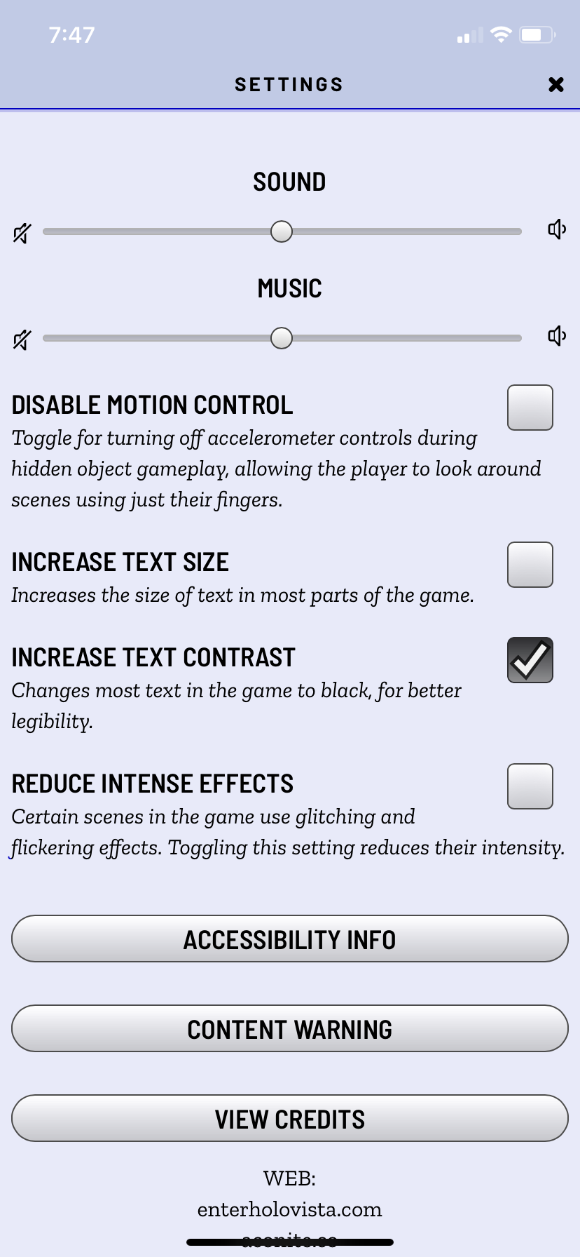 A visual representation of the in-game settings, and the impact of turning on increased contrast. You can see the text color has changed to black for most text.