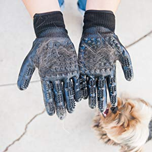 Effective Patented Grooming Gloves One Size Fit All Works For Dogs, Horses, Cats and Other Animals (1-pair) - Dog Joy Deals