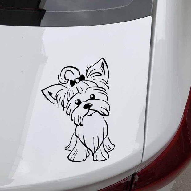 Adorable Yorkie Car Sticker - Dog Joy Deals