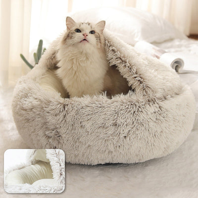 Plush Anti-anxiety Therapeutic Cave Bed for Cats and Small Dogs