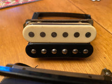 Load image into Gallery viewer, SOLD - Gibson Sonex 180 Deluxe Pickups (2) Velvet Bricks and Rings 1980s Zebra