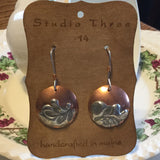 Copper and Pewter Discs with Sterling Silver Earwires