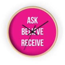 Load image into Gallery viewer, Law of Attraction Wall Clock - Ask Believe Receive - Pink White