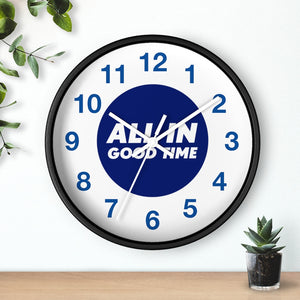Law of Attraction Wall Clock - All In Good Time - Blue Numbers