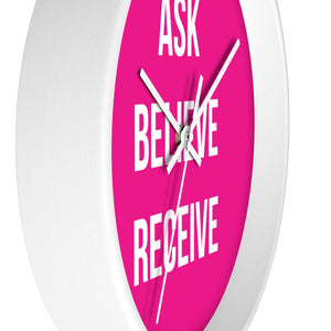 Law of Attraction Wall Clock - Ask Believe Receive - Pink White