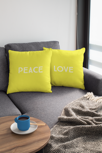Love Peace Yellow Law of Attraction Cushions