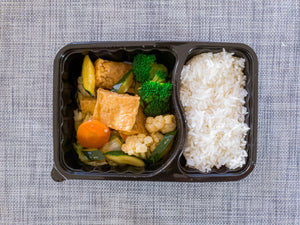Vegan ready meal braised Tofu and jasmine rice