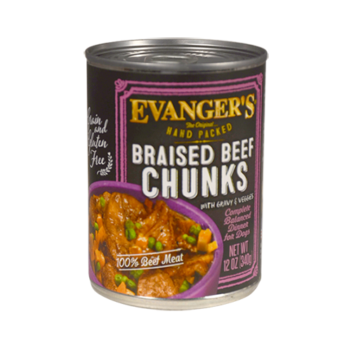 Evanger's Grain Free Hand Packed Braised Beef Chunks with Gravy for dogs