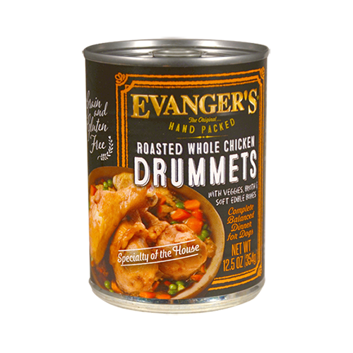 Evanger's Grain-Free Hand Packed Roasted Whole Chicken Drumets for dogs