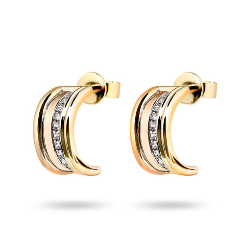 The Queen - Yellow Gold White Diamonds Hoop Earrings