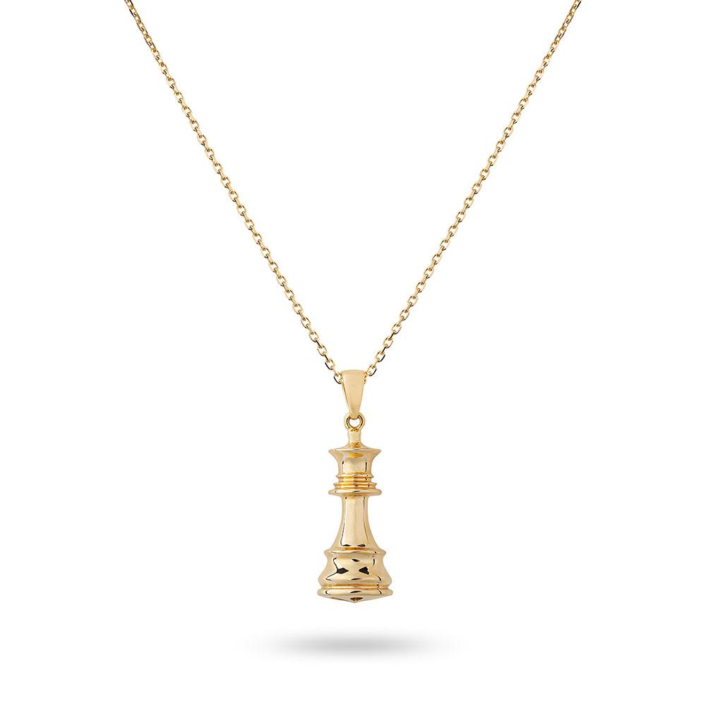 The Queen - Yellow Gold Chess Queen Necklace
